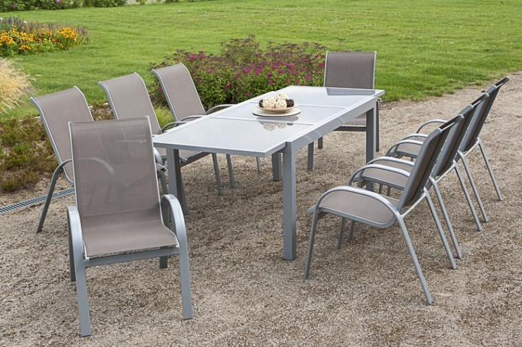 merxx gartenm bel set amalfi 9 tlg taupe ausziehtisch 160 220 cm ebay. Black Bedroom Furniture Sets. Home Design Ideas