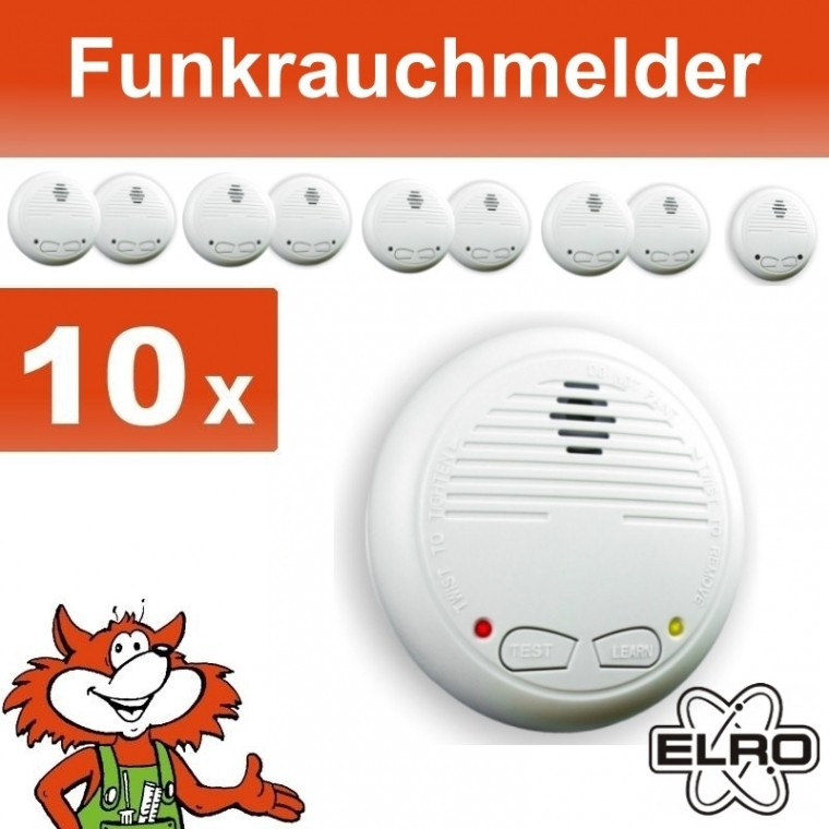 funk rauchmelder 10er set alarm schnurlos verkn pfbar neu uvp art nr 40784set10 ebay. Black Bedroom Furniture Sets. Home Design Ideas