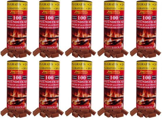 10x Favorit Anzündsticks 1200 Stück für Grill, Kamin und Ofen aus Naturholz