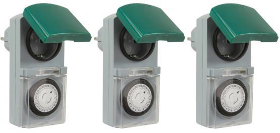 3er Set Zeitschaltuhr, mechanisch IP44, 16 A für Außen grün-grau