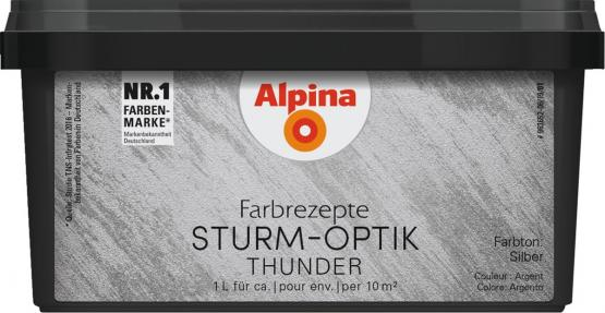 Alpina Farbrezepte METALL-EFFEKT STURM-OPTIK Thunder Silber 1L