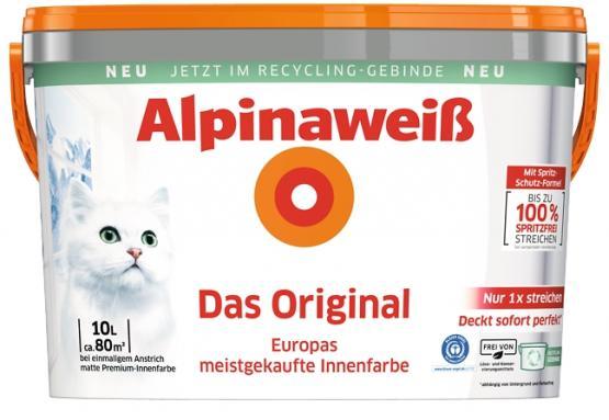 Alpina Innenfarbe Wandfarbe Alpinaweiß Das Original Spritzfrei matt 10 L konservierungsmittelfrei