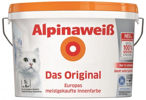 Alpina Innenfarbe Wandfarbe Alpinaweiß Das Original Spritzfrei matt 1 L konservierungsmittelfrei