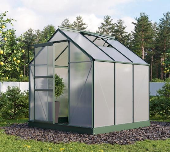 EPH Vitavia Gewächshaus Planet 3800 HKP 6mm, - Set Smaragd 3,8m² inkl. Fundamentrahmen