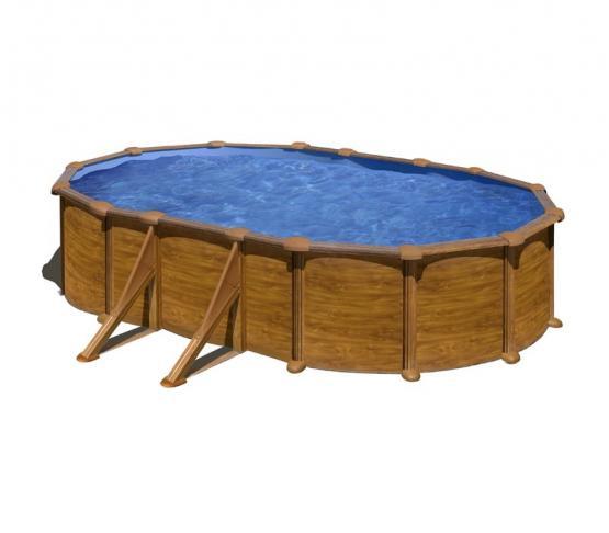 Gre Holzoptik Oval Pool 500 x 300 x 120 cm - 30/100 Blau Überlappung Poolfolie - 3,8 m³/h Kartuschenfilter - Sicherheitsleiter mit Plattform