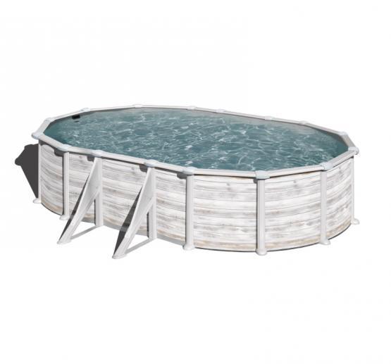 Gre Nordicoptik Oval Pool 500 x 300 x 132 cm - 40/100 Grau Überlappung Poolfolie - 6m³/h Sandfilter - Sicherheitsleiter mit Plattform - Bodenschutzvlies