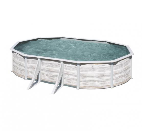 Gre Nordicoptik Oval Pool  500 x 300 x 120 cm - 30/100 Grau Überlappung Poolfolie - 4m³/h Sandfilter - Sicherheitsleiter mit Plattform