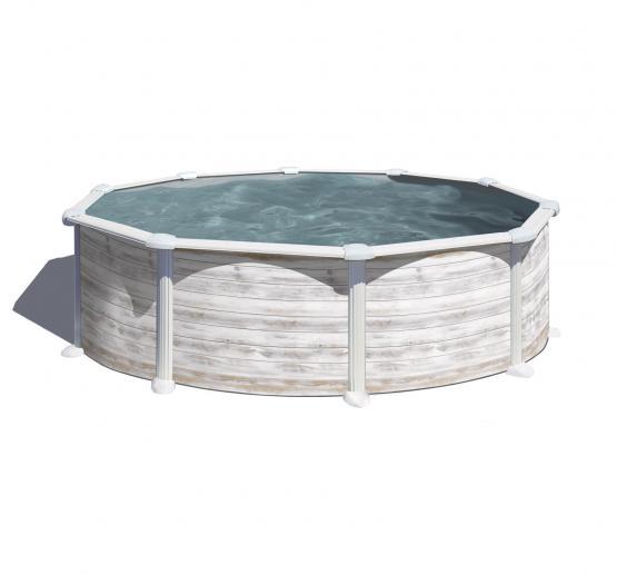 Gre Nordicoptik Rund Pool Ø 460x132 cm - 40/100 Grau Überlappung Poolfolie - 6m3/h Sandfilter - Sicherheitsleiter mit Plattform - Bodenschutzvlies