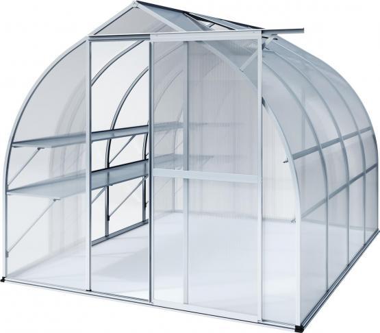 KGT Gewächshaus Rhodo lV blank 2,27 x 3,01 m (6,83 m²) 6mm Polycarbonat UV-geschützt