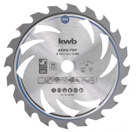 KWB Dünnschnitt-Kreissägeblatt, hartmetallbestückt, ø 160 x 16 mm