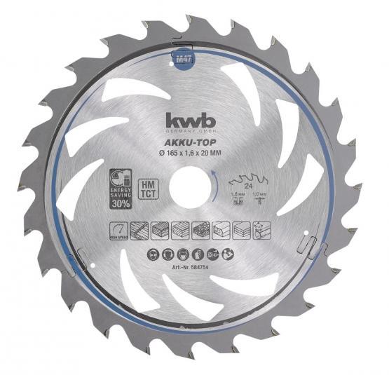 KWB Dünnschnitt-Kreissägeblatt, hartmetallbestückt, ø 165 x 20 mm