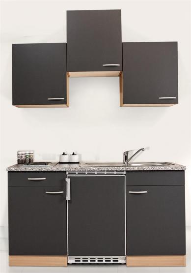 respekta Economy Küchenblock 150 cm Buche Nachbildung & Steinchenoptik mit Edelstahlkochfeld grau