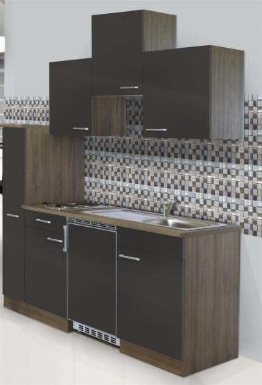respekta Economy Küchenblock 180 cm Eiche York Nachbildung mit Edelstahlkochfeld grau