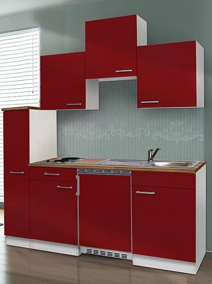 respekta Economy Küchenblock 180 cm weiß & Butcher Nussbaum Nachbildung mit Edelstahlkochfeld rot