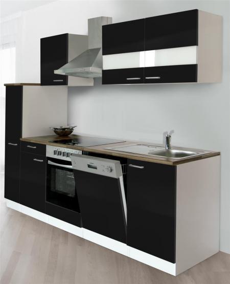 respekta Economy Küchenblock 250 cm Mit Apothekerschrank - OHNE Einbaukühlschrank weiß & Butcher Nussbaum Nachbildung mit Glaskeramikkochfeld schwarz