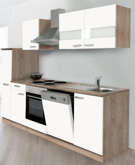 respekta Economy Küchenblock 250 cm Mit Apothekerschrank - OHNE Einbaukühlschrank Eiche Sonoma sägerau Nachbildung mit Edelstahlkochfeld weiß