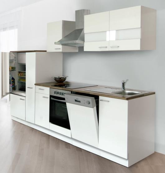 respekta Economy Küchenblock 310 cm weiß & Butcher Nussbaum Nachbildung mit Glaskeramikkochfeld weiß