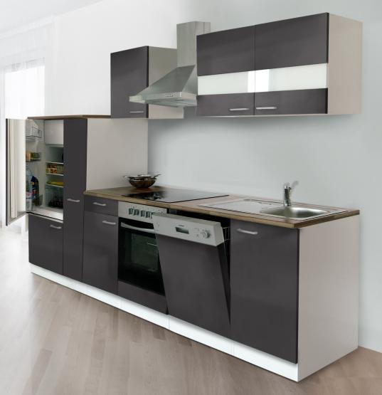 respekta Economy Küchenblock 310 cm weiß & Butcher Nussbaum Nachbildung mit Glaskeramikkochfeld grau