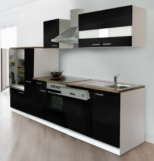 respekta Economy Küchenblock 310 cm weiß & Butcher Nussbaum Nachbildung mit Glaskeramikkochfeld schwarz