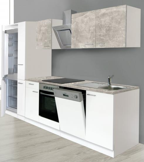 respekta Economy Küchenblock 310 cm weiß / und Oberschrankfronten in Beton Optik mit Einbaukühl-/Gefrierkombination GKE178A++ und Designhaube CH22020IXA weiß