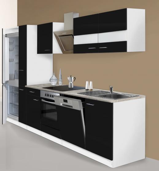 respekta Economy Küchenblock 310 cm weiß & in Beton Optik mit Einbaukühl-/Gefrierkombination GKE178A++ und Designhaube CH22020IXA schwarz