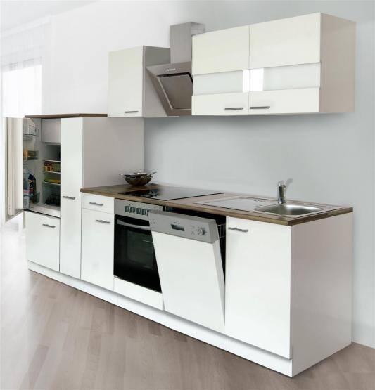 respekta Economy Küchenblock 310 cm weiß & Butcher Nussbaum Nachbildung Mit Schräghaube CH 22020 IXA mit Glaskeramikkochfeld weiß