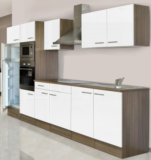 respekta Economy Küchenblock 330 cm Eiche York Nachbildung mit Glaskeramikkochfeld weiß
