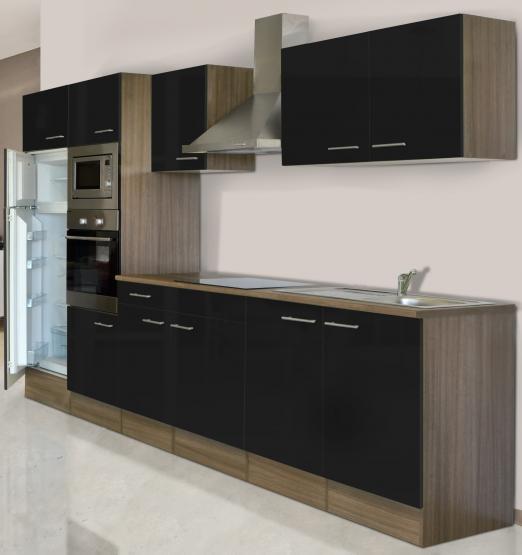 respekta Economy Küchenblock 330 cm Eiche York Nachbildung mit Glaskeramikkochfeld schwarz