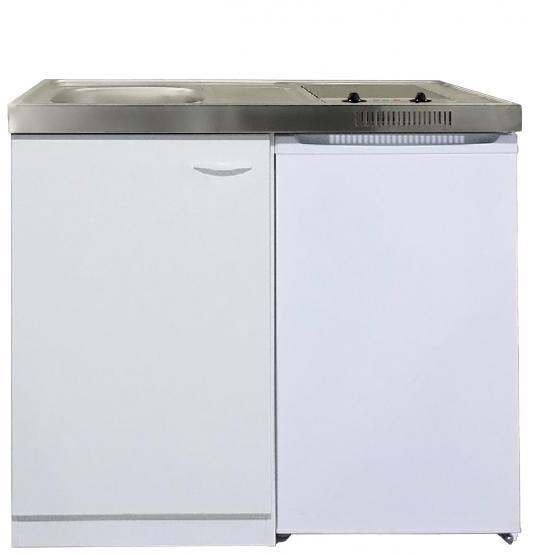 respekta Miniküche 100/130 cm Weiß mit Glaskeramikkochfeld mit Kühlschrank