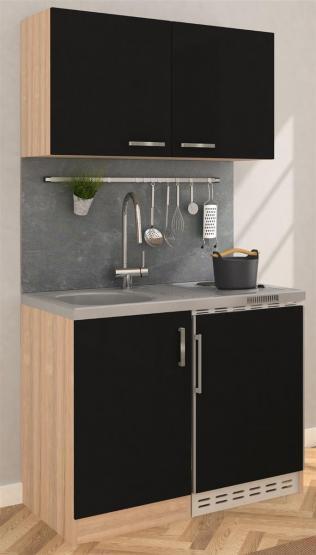 respekta Miniküche 100 - Eiche Sonoma Sägerau mit extra Hängeschrank 100 cm mit Edelstahlkochfeld schwarz