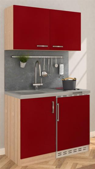 respekta Miniküche 100 - Eiche Sonoma Sägerau mit extra Hängeschrank 100 cm mit Glaskeramikkochfeld rot