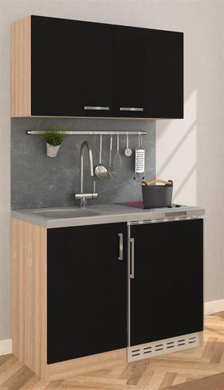 respekta Miniküche 100 - Eiche Sonoma Sägerau mit extra Hängeschrank 100 cm mit Glaskeramikkochfeld schwarz