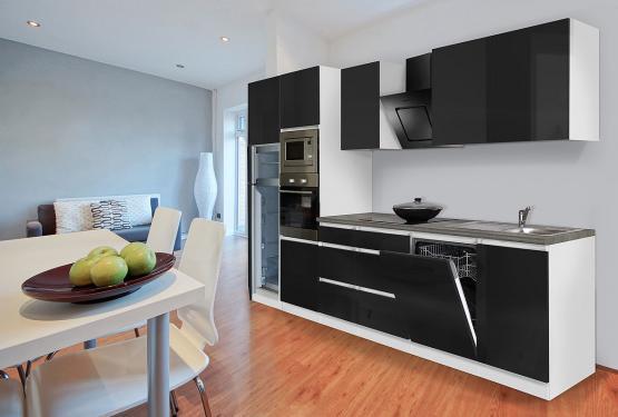 respekta Premium Grifflos-Küchenblock 345 cm Weiß & Granit-Optik mit Einbau-Kühlgefrierkombination und Einbaumikrowelle Schwarz Hochglanz