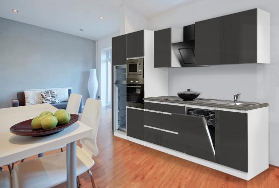 respekta Premium Grifflos-Küchenblock 345 cm Weiß & Granit-Optik mit Einbau-Kühlgefrierkombination und Einbaumikrowelle Grau Hochglanz