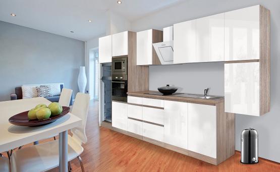 respekta Premium Grifflos-Küchenblock 385 cm weiß Hochglanz & Eiche-Sägerau Nachbildung mit Glaskeramikkochfeld