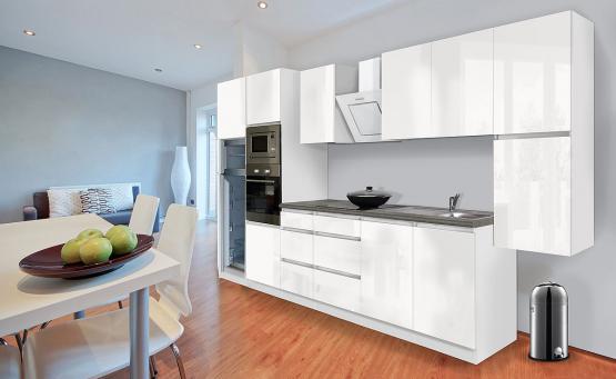 respekta Premium Grifflos-Küchenblock 385 cm Weiß & Granit-Optik mit Einbau-Kühlgefrierkombination und Einbaumikrowelle Weiss Hochglanz