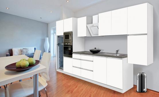 respekta Premium Grifflos-Küchenblock 385 cm Weiß & Granit-Optik mit Einbau-Kühlgefrierkombination und Einbaumikrowelle Weiss Matt