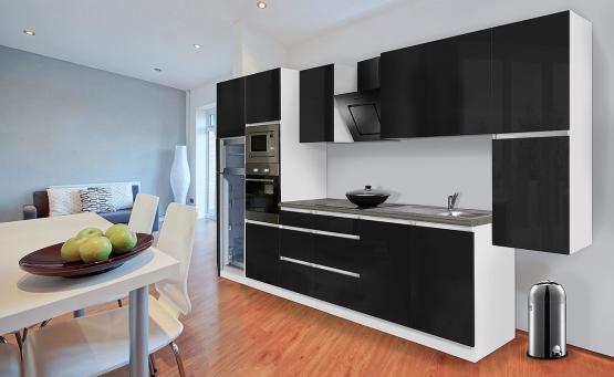 respekta Premium Grifflos-Küchenblock 385 cm Weiß & Granit-Optik mit Einbau-Kühlgefrierkombination und Einbaumikrowelle Schwarz Hochglanz