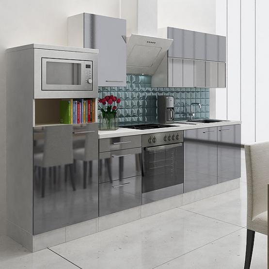 respekta Premium Küchenblock 280 cm grau Hochglanz mit Herd-Set