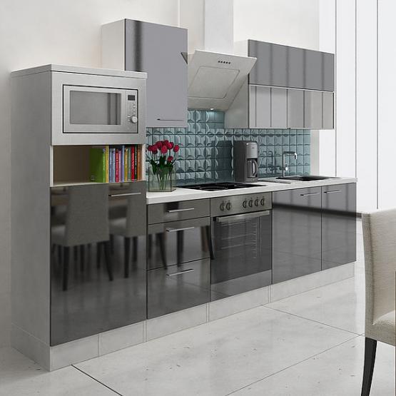 respekta Premium Küchenblock 280 cm schwarz Hochglanz mit Herd-Set