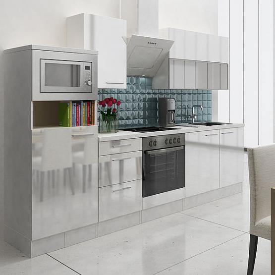 respekta Premium Küchenblock 280 cm weiß Hochglanz mit Herd-Set