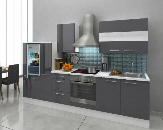 respekta Premium Küchenblock 300 cm grau Hochglanz mit Herd-Set