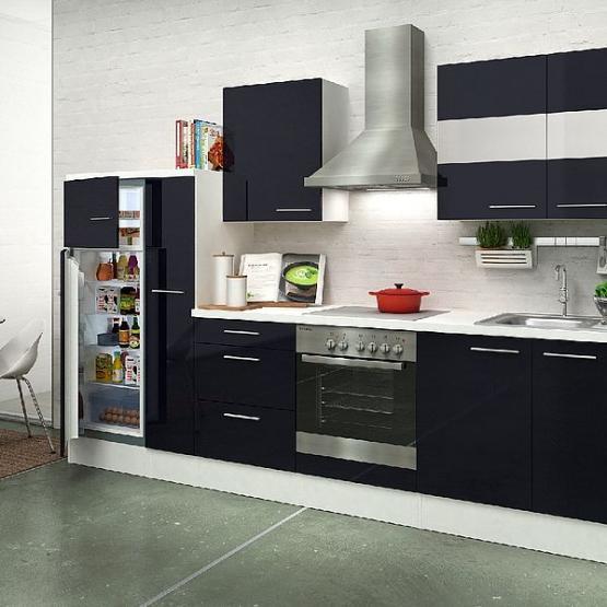 respekta Premium Küchenblock 300 cm schwarz Hochglanz mit Herd-Set