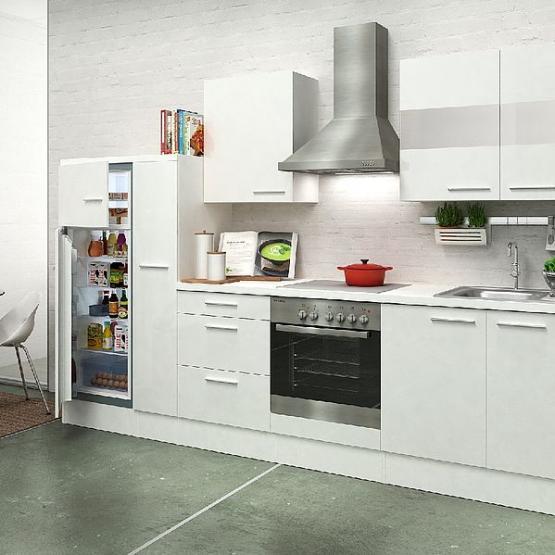 respekta Premium Küchenblock 300 cm weiß Hochglanz mit Herd-Set