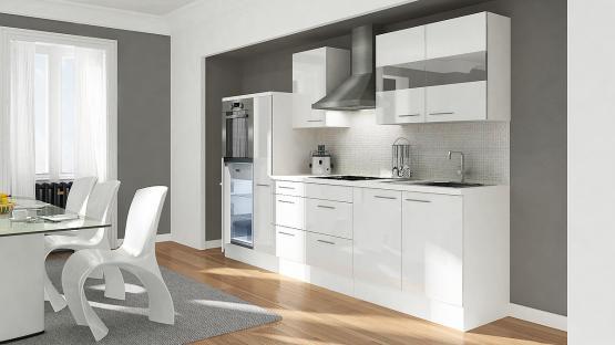 respekta Premium Küchenblock Hochbau 300 cm weiß Hochglanz mit Glaskeramikkochfeld