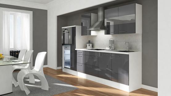 respekta Premium Küchenblock Hochbau 300 cm grau Hochglanz mit Glaskeramikkochfeld