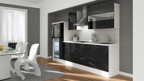 respekta Premium Küchenblock Hochbau 300 cm schwarz Hochglanz mit Glaskeramikkochfeld