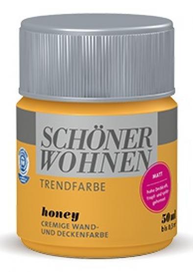 Schöner Wohnen Trendfarbe Wandfarbe Deckenfarbe honey Farbtontester 50 ml