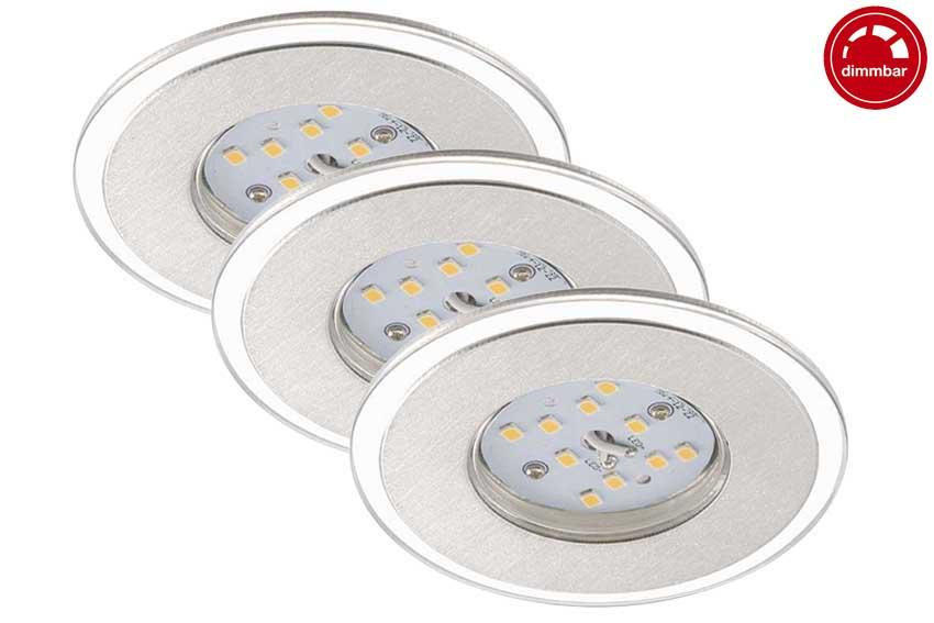 Briloner LED Deckenleuchte Einbauleuchten 3er Set 3-flammig  Aluminiumfarbig