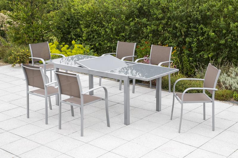 Merxx Gartenmöbel-Set 4 Ostia, 7-teilig, Tisch: 160/220 x 90 x 75 cm,  Aluminium/Textilgewebe, Taupe